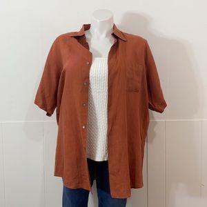 Vintage Linen Burnt Orange Button Down Top